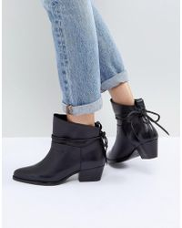 Hudson Jeans - London Macha Black Leather Mid Heeled Ankle Boots - Lyst