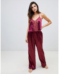 Wolf & Whistle - Cami Strap Lace Trim Long Pyjama Set - Lyst