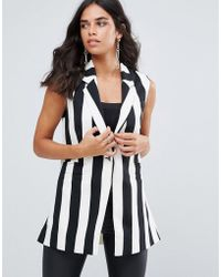 Forever Unique - Mono Stripe Sleeveless Blazer - Lyst