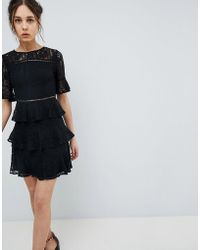 Girls On Film - Lace Mini Dress With Tiered Skirt - Lyst