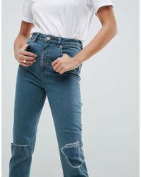 da73e880c5ab ASOS - Farleigh High Waist Slim Mom Jeans In Amaris Green Cast Wash - Lyst