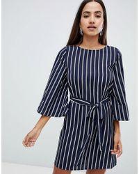 AX Paris - Striped Belted Shirt Dress - Lyst