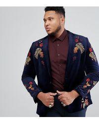 ASOS - Asos Plus Skinny Blazer In Navy Velvet With Embroidery - Lyst