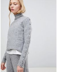 Shae - Buttoned Sleeves High Neck Alpaca And Merino Wool Blend Jumper - Lyst