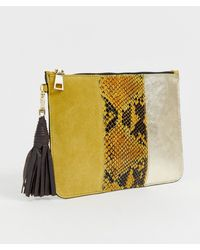 River Island - Grab Clutch Bag In Yellow Snake Print - Lyst