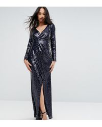 TFNC London - Wrap Over Sequin Maxi Dress - Lyst