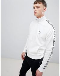 Fred Perry - Sports Authentic Taped Track Jacket In White - Lyst