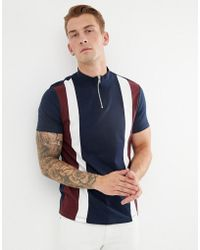 ASOS - T-shirt With Turtle Neck And Vertical Cut And Sew Panels In Navy - Lyst