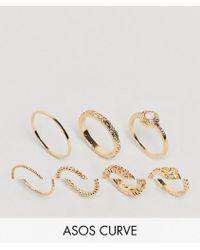 ASOS - Set Van 7 Ringen Met Imitatie-rozenkwarts En Filigraan - Lyst