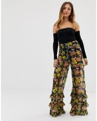 ASOS - Wide Leg Pants In Floral Print Mesh With Ruffle Hem - Lyst
