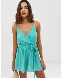 ASOS - Wrap Tie Front Strappy Playsuit In Crinkle - Lyst