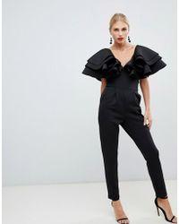 True Violet - Plunge Front Jumpsuit With Shoulder Frill Detail In Black - Lyst