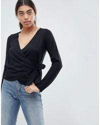ASOS - Sweater With Wrap And Tie - Lyst
