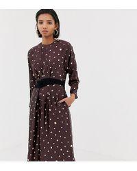 Mango Kleid mit Tupfen in Metallic