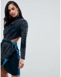 ASOS - Velvet Mini Dress With Starburst Pearl Embellishment - Lyst