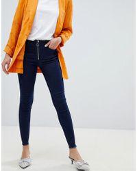 Vila - Zip Front Skinny Jeans - Lyst