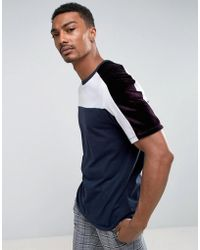 ASOS - T-shirt With Velour Panelling In Navy - Lyst
