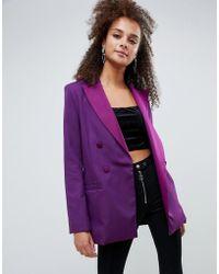 Bershka - Blazer In Purple - Lyst