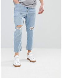 Mango - Man Slim Jean With Knee Rips In Light Wash - Lyst