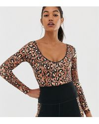Wolf & Whistle - Exclusive To Asos Back Detail Bodysuit In Leopard - Lyst