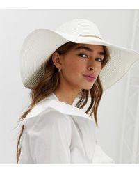 ALDO - Braussa White Straw Floppy Wide Brimed Hat With Gold Chain Detail - Lyst