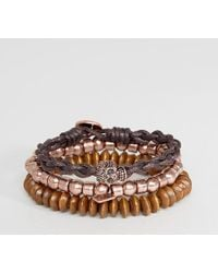 Icon Brand - Beaded & Cord Bracelets In 3 Pack - Lyst