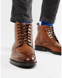 Ted Baker - Twrens Brogue Boots In Tan Leather - Lyst