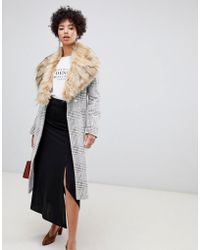River Island - Longline Tailored Coat With Faux Fur Trim In Check - Lyst
