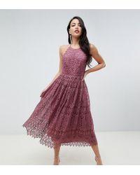 ASOS - Asos Design Tall Lace Pinny Scallop Edge Prom Midi Dress - Lyst