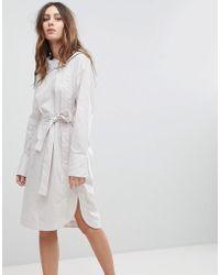 EVIDNT - Asymmetric Collar Dress With Waist Tie - Lyst