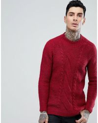 ASOS - Cable Knit Mohair Wool Blend Sweater In Burgundy - Lyst