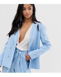 Missguided - Tailored Blazer In Powder Blue - Lyst