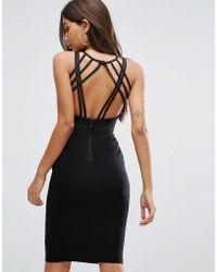 Vesper - Strappy Back Midi Dress In Black - Lyst