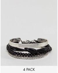 Stradivarius - Bracelets 4 Pack In Black And Silver - Lyst