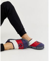 9da243bf5be7 Tommy Hilfiger - Mountain Logo Patch Icon Colour Block Quilted Slipper In  Red white