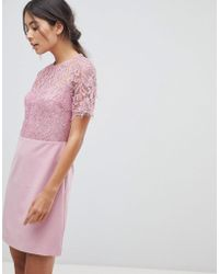 Oasis - Lace Sleeved Shift Dress - Lyst