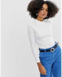 Monki - Turtle Neck Long Sleeve Top In Off White - Lyst