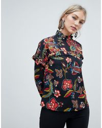 Vero Moda - Floral High Neck Blouse - Lyst