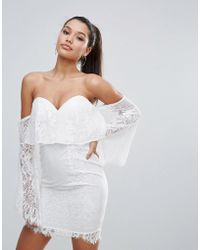 Love Triangle - All Over Lace Off Shoulder Pencil Dress With Fluted Sleeve Detail - Lyst