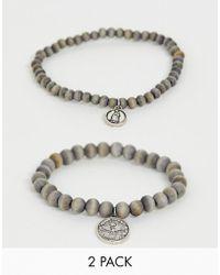 Icon Brand - 2er Packung silberner, perlenbesetzter Armbänder - Lyst