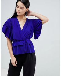 Flounce London - Ruffle Detail Blouse With Tie Waist In Royal Blue - Lyst