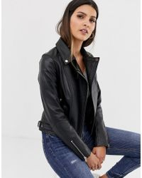 Barneys Originals - Barney's Originals Leather Biker Jacket With Mock Croc Panels - Lyst
