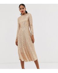 TFNC London A-line Sequin Midi Dress In Rose Gold