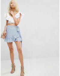 ARRIVE - Tie Detail Wrap Skirt With Frill Hem Detail - Lyst