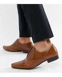 ASOS - Светло-коричневые Кожаные Оксфордские Туфли Для Широкой Стопы - Lyst