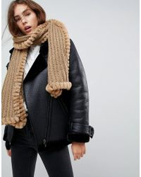 Urbancode - Knitted Scarf With Faux Fur Trim - Lyst