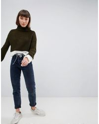 Daisy Street - Roll Neck Jumper With Contrast Stripe Panel - Lyst