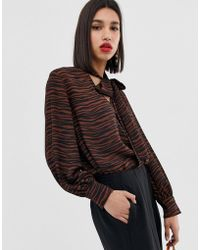 Warehouse - Pussybow Blouse In Tiger Print - Lyst