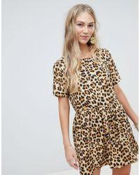 Vero Moda - Oversize Animal Print Smock Dress - Lyst