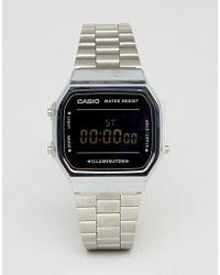 G-Shock - A168w Digital Bracelet Watch In Silver/black Mirror - Lyst